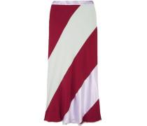 Striped crepe de chine midi skirt