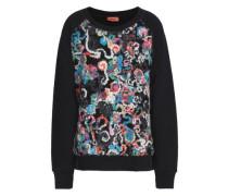 Bouclé-paneled French cotton-terry sweatshirt