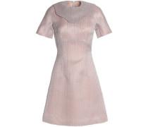 Metallic embroidered cotton-blend mini dress
