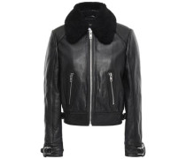 Shearling-trimmed Textured-leather Jacket Black