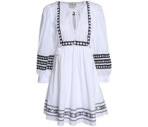 Tasseled lace-trimmed embroidered cotton-gauze dress