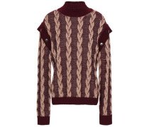 Button-detailed Wool Jacquard Sweater Merlot