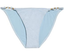 Knotted faux suede low-rise bikini briefs