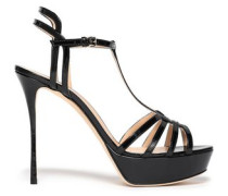 Cutout Patent-leather Platform Sandals Black