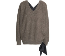 Tie-side marled ribbed cashmere-blend sweater