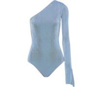 One-shoulder Gathered Crepe Bodysuit Light Blue