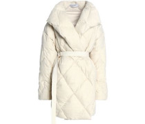 Quilted wool-blend down coat