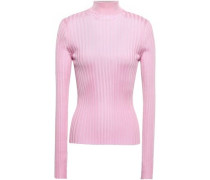 Ribbed-knit Turtleneck Top Baby Pink