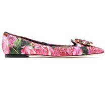 Woman Crystal-embellished Floral-print Brocade Point-toe Flats Pink