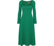 Wool-blend Crepe Midi Dress Green