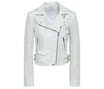 Eyelet-embellished Leather Biker Jacket White