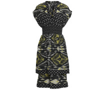 Woman Shirred Printed Silk And Cotton-blend Dress Black