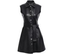 Woman Belted Leather Mini Dress Black