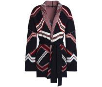 Belted jacquard-knit cardigan