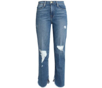 Distressed Frayed High-rise Slim-leg Jeans Light Denim  6