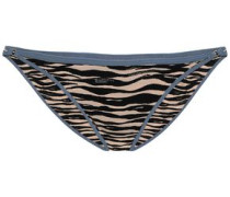 Shelby Embroidered Zebra-print Low-rise Bikini Briefs Animal Print Size I
