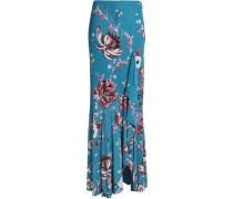Floral-print jersey maxi skirt