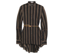 Woman Belted Bead-embellished Striped Cotton And Silk-blend Shirt Black
