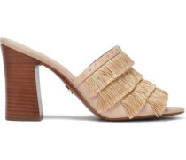 Gallagher Fringed Studded Faux Leather Sandals Blush