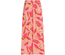 Pleated floral-print crepe de chine maxi skirt