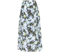 Woman Pleated Floral-print Silk Crepe De Chine Midi Skirt Black