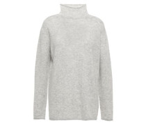 Woman Mélange Cashmere And Silk-blend Sweater Light Gray