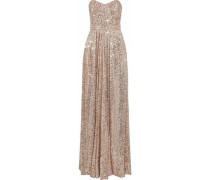 Strapless Gathered Sequined Mesh Gown Antique Rose