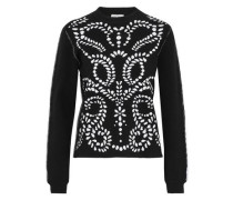 Ruffle-trimmed two-tone jacquard-knit sweater