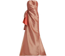 Fluted draped taffeta gown