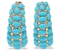 22-karat Gold-plated Stone Clip Earrings Turquoise Size --