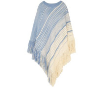 Fringed Cotton And Wool-blend Poncho Sky Blue  /L