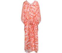 Belted Printed Silk Kaftan Orange  /M
