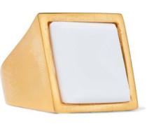 Brushed gold-tone resin ring