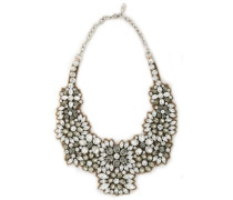 Silver-tone, crystal and satin necklace