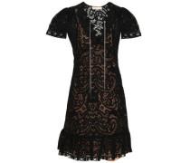 Lace-up Crocheted Lace Mini Dress Black