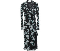 Marin Knotted Printed Crepe-jersey Wrap Dress Black