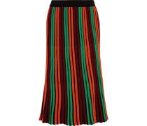 Ninni Striped Wool-blend Midi Skirt Bright Orange