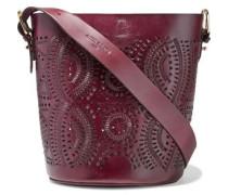 Woman Kailo Cutout Leather Bucket Bag Burgundy