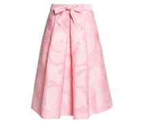 Bow-detailed pleated jacquard skirt
