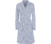 Printed Cotton-blend Poplin Dress Storm Blue