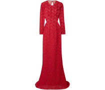 Woman Breanna Open-back Cotton-blend Corded Lace Bridal Gown Red