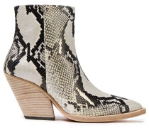 Arezela Snake-effect Leather Ankle Boots