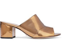 Aylane Metallic Leather Mules Bronze