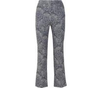 Valary floral-jacquard flared pants