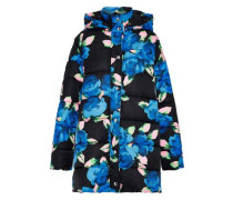 Quilted Floral-print Shell Hooded Coat Blue