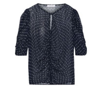 Ruched Polka-dot Chiffon Top Navy