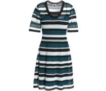 Striped Crochet-knit Mini Dress Petrol