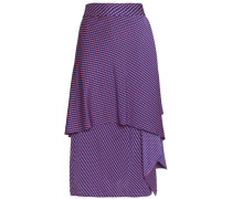 Ruffled printed silk-blend crepe de chine midi skirt