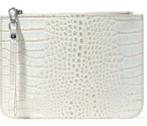 Ned croc-effect leather clutch