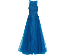 Bow-embellished Corded Lace And Tulle Gown Bright Blue